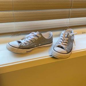 Converse Sparkle Knit silver sneakers, Sz 6.5